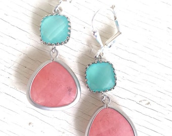 Earrings. Pretty Coral and Aqua Dangle Earrings in Silver. Jewelry Earrings. Coral Pink Bridesmaid Earrings. Drop Earrings. Wedding Jewelry.