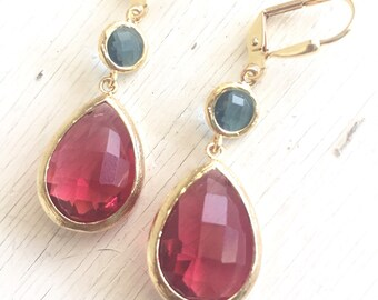Ruby Red and Navy Blue Dangle Earrings. Jewel Fashion Earrings. Navy Blue and Red Dangle Earrings. Drop Earrings. Wedding Jewelry. Gift.
