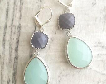 Cloudy Mint and Opaque Grey Dangle Earrings in Silver.  Bridesmaid Earrings. Dangle Earrings. Mint Drop Earrings. Wedding Jewelry. Bridal.
