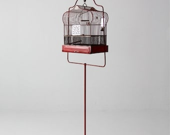 SALE antique bird cage with stand, red Crown birdcage, decorative bird cage