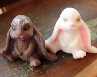 BUNNY SOAP, Rabbit Soap, Spring Soap, Bunnies in Chocolate or White, Custom Scented, Novelty Soap, Easter Basket Soap, Long-Eared Bunnies