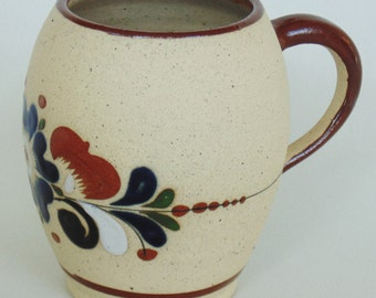 Mexican Clay Ceramic Pottery Vase Glazed Interior Hand Painted