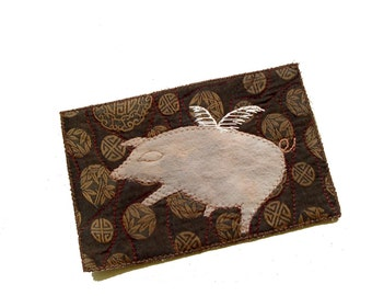 Pigs might fly Fiber Art Card, farmhouse decor, pig on brown, unique postcard, folk art, modern rustic, farm animal, piggy, flying pig