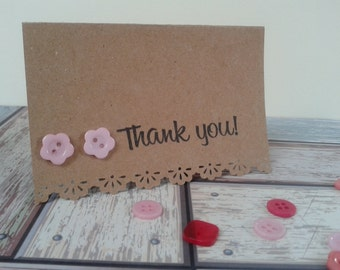 Thank you cards tags notes brown paper small buttons handmade single or set of 5, 10 or 15