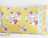 Lindsay Pillowcase, yellow floral pillowcase, Ready to Ship
