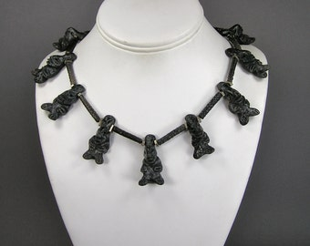Vintage Oaxaca Necklace, Black Clay, Hand Made, Unique Figures, Mexican Folk Art