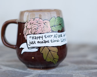 "River Song ""Happy ever after doesn't mean forever"" Doctor Who Quote Mug - Small, rustic brown mug with flowers - Twelfth Doctor"