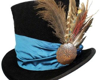 Tall Black Top Hat Gypsy Flair Teal Blue Steampunk Gypsy Victorian Gentlemens Dapper Cosplay Mens