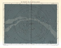 1893 Star Chart, Constellations, Fixed Stars of the Northern Sky Original Antique Map