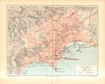1896 Original Antique City Map of Naples, Italy