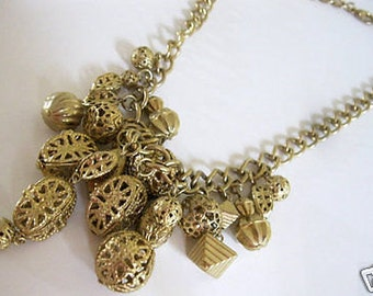 Vintage Filigree Dangle Fringe Charm Bib Necklace Statement Piece Gorgeous