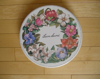 Vintage Tin - Laura Secord Candy Tin, Canadian Provincial Flowers, Round Tin, Souvenir Tin