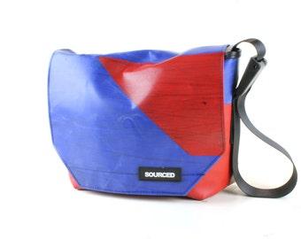 Messenger Bag made from Upcycled Truck Tarp, Water resistant Laptop Bag, Courier Bag, Satchel, Shoulder Bag (N12)