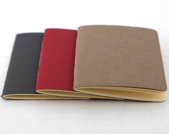 Set of 3 handbound notebooks (32 pgs) // (pocket notebook, cahier, sketchbook, notepad, blank notebook, set of books)