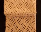 Angora Blend Lace Scarf, Hand Knit Lace Scarf, Angora Knit Lace Scarf, Light Brown Knit Scarf