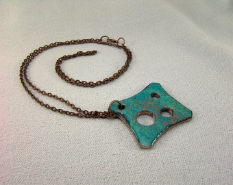 Sheild Totem DIZ Necklace in Hammered Copper and Enamels 1 Inches Across...and 24 inch Copper Chain