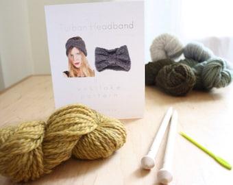 Westlake Knit Kit Turban Headband, with 100% wool, birch knitting needles, knitting pattern, darning needle