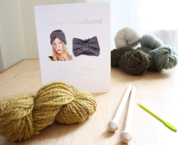 Westlake Knit Kit Turban Headband, with 100% wool, birch knitting needles, knitting pattern, darning needle