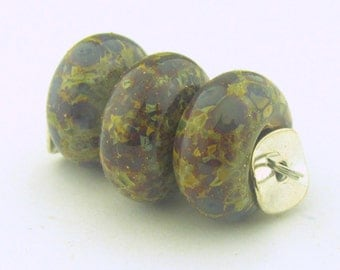 Handmade Lampwork Stone Ground base with Silver Foil and Organic Frit BHB Bead (3 )- Organic Collection - LEteam