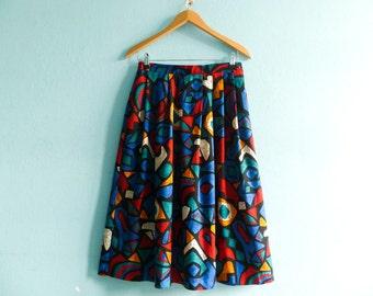 Vintage Multicolor Skirt / Abstract Print Graphic Geometric / Bold Statement / High Waist / Midi / small medium