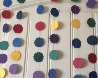 Party paper circle garland in Navy, Yellow, Green, Purple, Blue, Red - decorate, home decor, party time, circle garland, deep rich colours