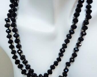Black Knotted Necklace or Bracelet,  High Quality Swarovski Crystal Necklace, Black Necklace, Long Black Necklace, Versatile Necklace