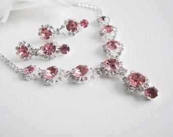 Pink 2 piece set Wedding Necklace Bridal Necklace - Bridal Jewelry - Wedding Necklace - bridal set- Backdrop Bridal Necklace