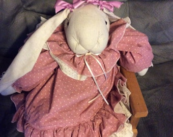 handmade bunny rabbit  in pinks and creams  I ship international