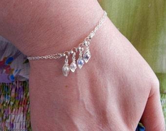 Peas in a pod Charm Bracelet, Sterling Silver Bracelet, Birthstone Bracelet, Mothers Bracelet