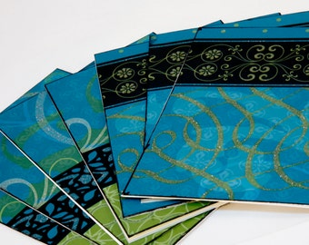 Blank Notecards - Blue and Green Set of 7