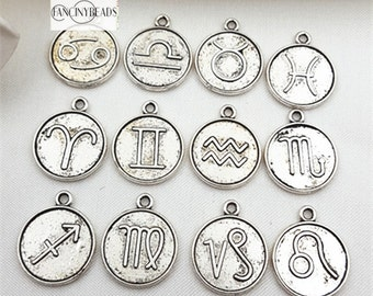 Shop Off sale-Fantastic set-zodiac charms -12 pcs-T0930-two sides designed