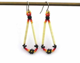 Beaded Daisy Earrings with Porcupine Quills
