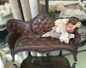 A Cast Metal Antique Miniature Doll Couch With Chippy Paint