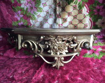 A Vintage Gold Regency Shabby Chic Rose Wall Shelf For The Fufu Lovers