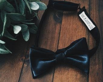 Formal Affair Black Satin Bow Tie