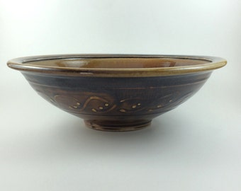 Large Hand Thrown Wood Fired Stoneware PotteryServing Bowl (YCP645)