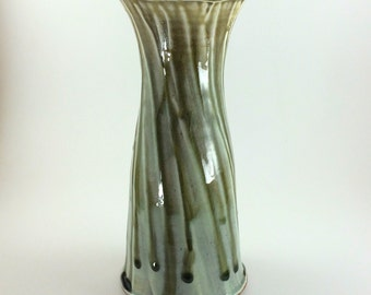 Hand Thrown Blue Green Stoneware Pottery Vase (YCP643)