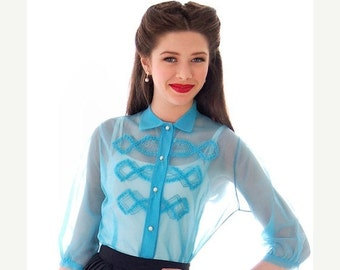 On Sale Now Adorable 1940s Vintage Sheer Nylon Blouse Unusual  Robins  Egg Blue Embellished Small