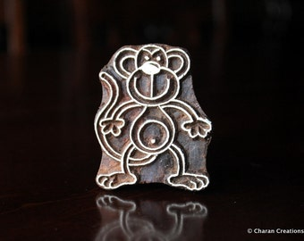 Block Stamps, Tjaps, Pottery stamps, Indian Wood Stamps- Cute Monkey