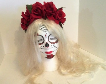 Frida Kahlo Flower Crown,Red Rose Headband,Day of the Dead Costume, Dia de Los Muertos Costume,Gothic Lolita,Day of the Dead Headpiece