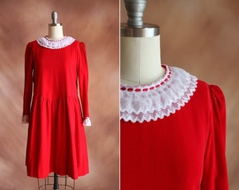 vintage 1980's red corduroy & white lace babydoll tie back smock holiday dress / size s