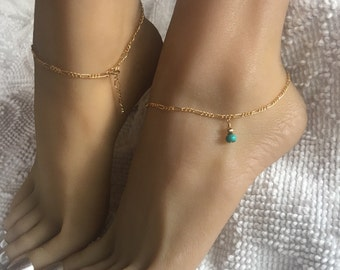 Gold Filled Anklet with beautiful genuine Turquoise stone. One size fits most adjustable ankle bracelet up to 10 1/2 inches.