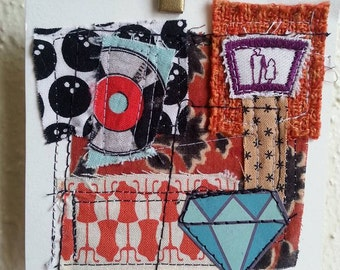 A Girls Best Friend fabric paper collage fiber sewing diamond  records vinyl mixed media