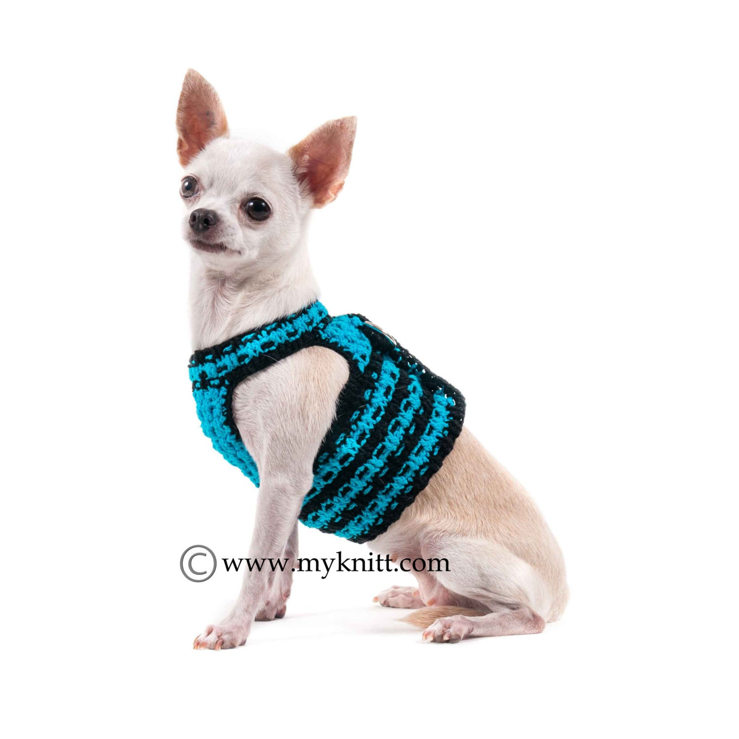 Free Crochet Pattern For Dog Harness : Turquoise Black Interlace Crochet Dog Harness Choke free