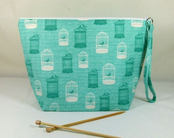 Knitting Project Bag - Large Zipper Wedge Bag in Mint Birdcage Quilting Fabric with Gold and White Bow Cotton Lining
