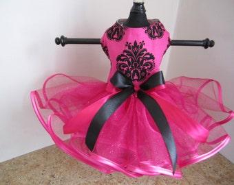 Dog Dress XS  Hot pink with black tutu by Nina's Couture Closet