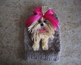 Dog Sweater Yorkie Beige With Hot Pink Bow  By Nina's Couture Closet