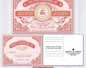 Celtic Wedding Invitations | Letterpress Wedding Stationery | Boho Invitation Suite | Gold and Coral Wedding Invitation | Irish Invites