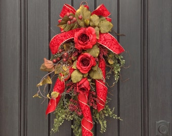 Spring Summer Fall Wreath, Swag, Gift Twig Teardrop Vertical Swag Door Decor Use All Year Round Red Roses Artificial Florals Valentines Day