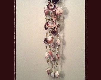 Sea Shell Suncather Windchime Calico Pectens w/16 Topaz Crystal Beads, Beach/Coastal/Nautical Decor, Patio/Yard/Garden Decor